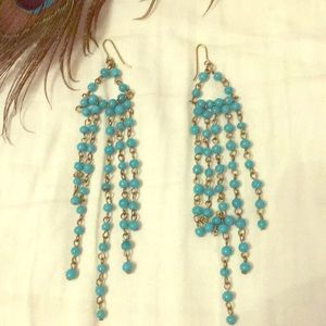 Turquoise dangling beaded earrings